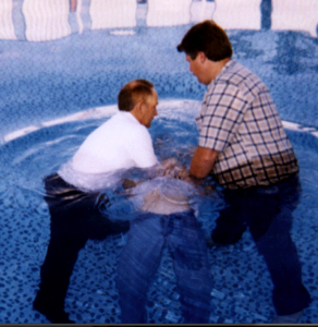 My baptism (in an above ground swimming pool)